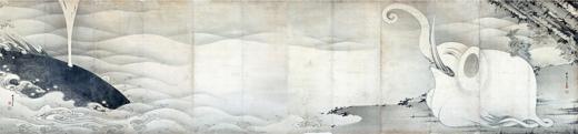 s820-10鯨と象図屏風