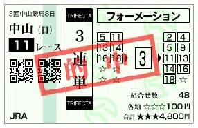 【的中馬券】284017皐月賞(競馬 60倍 的中)