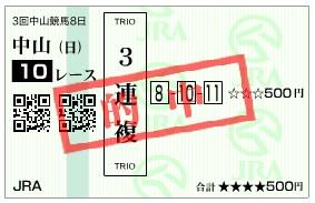 【的中馬券】284017中山10(競馬 60倍 的中)
