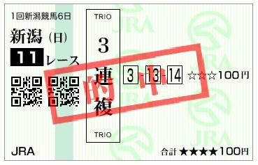 【的中馬券】160514新潟11(競馬 万馬券 的中)