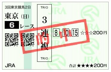 【的中馬券】160605東京6(競馬 万馬券 的中)