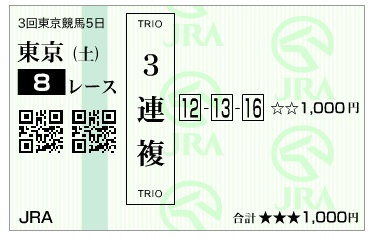 【馬券】160618東京8(競馬 万馬券 的中)