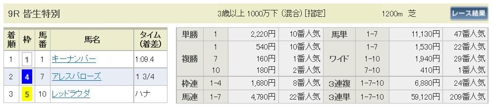【払戻金】160626阪神9(競馬 万馬券 的中)
