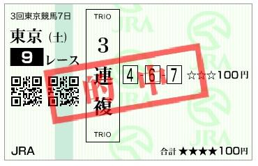【的中馬券】160625東京9(競馬 万馬券 的中)