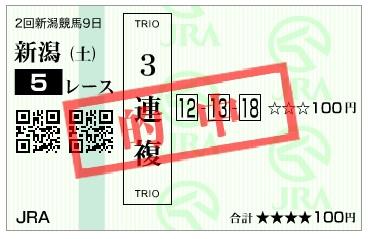 【的中馬券】160827新潟5(馬券 万馬券 的中)