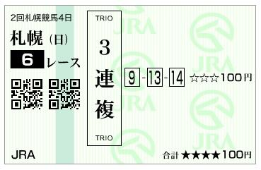 【馬券】160828札幌6(馬券 万馬券 的中)