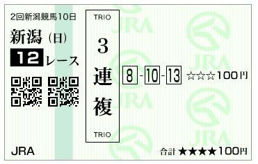 【馬券】160828新潟12(馬券 万馬券 的中)