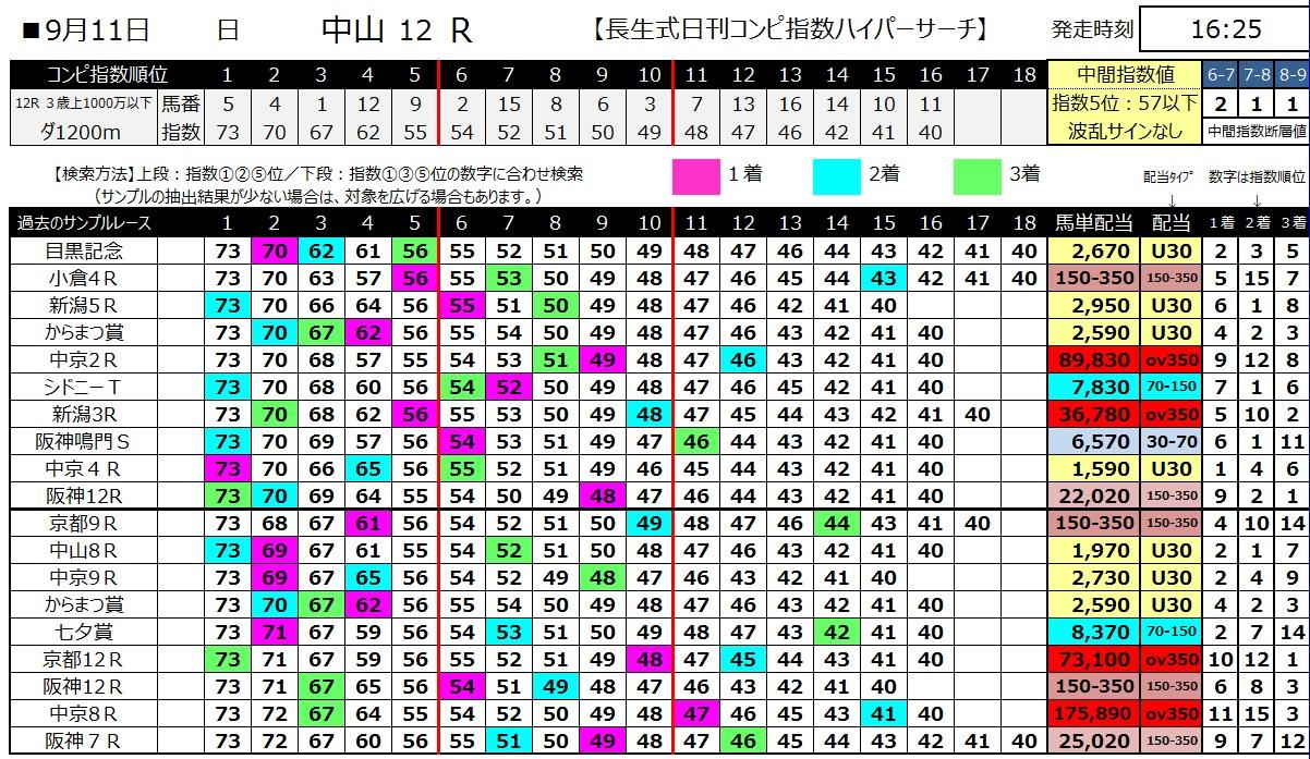 【コンピ指数】1600911中山12(馬券 万馬券 的中)