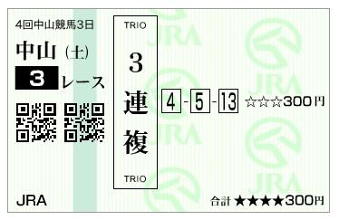 【馬券】160917中山3(馬券 万馬券 的中)