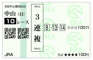 【馬券】160925中山10(馬券 万馬券 的中)