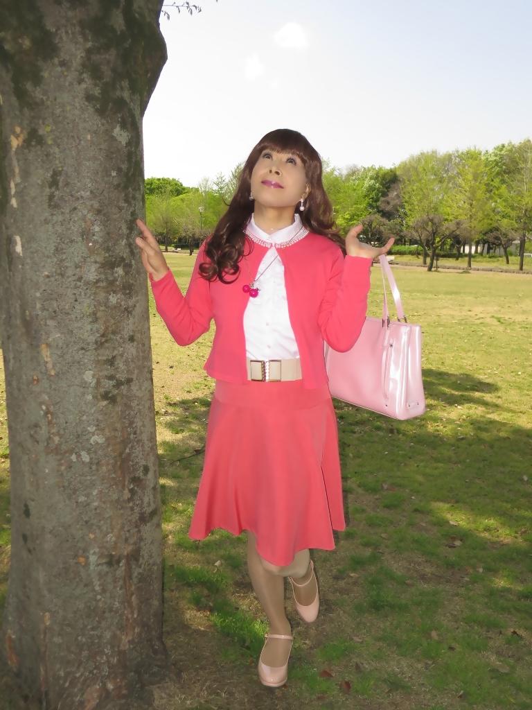 ピンクカーデピンクフレアスカート(4)
