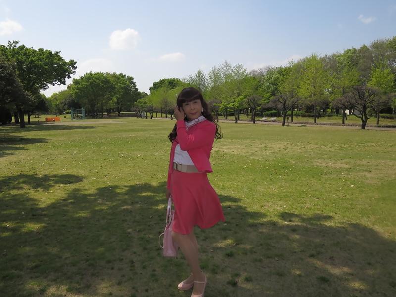 ピンクカーデピンクフレアスカート(6)