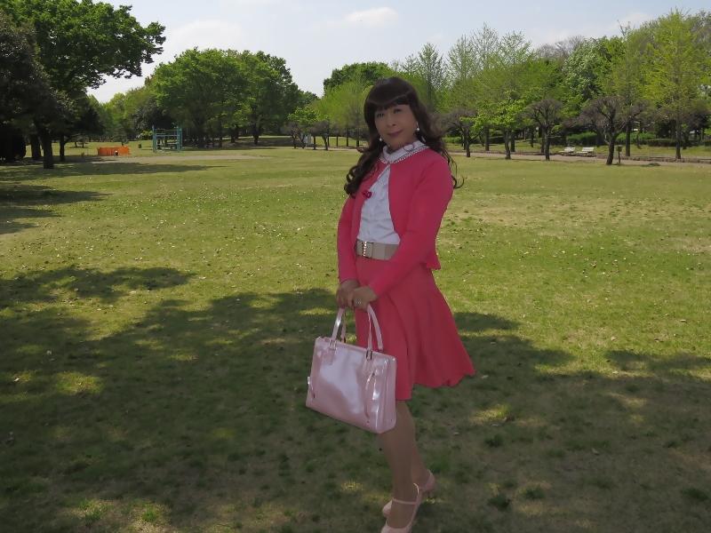 ピンクカーデピンクフレアスカート(7)