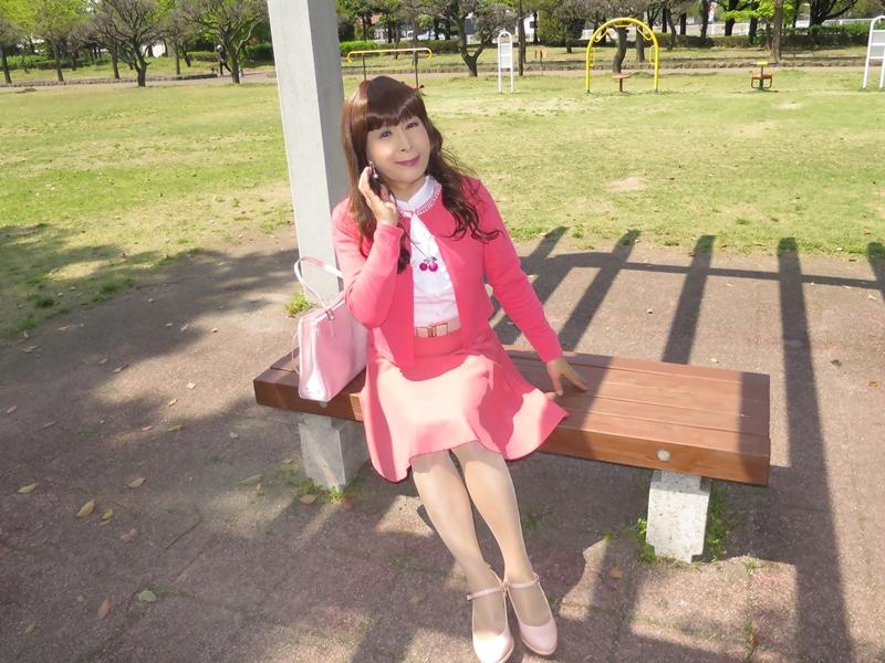 ピンクカーデピンクフレアスカート(10)