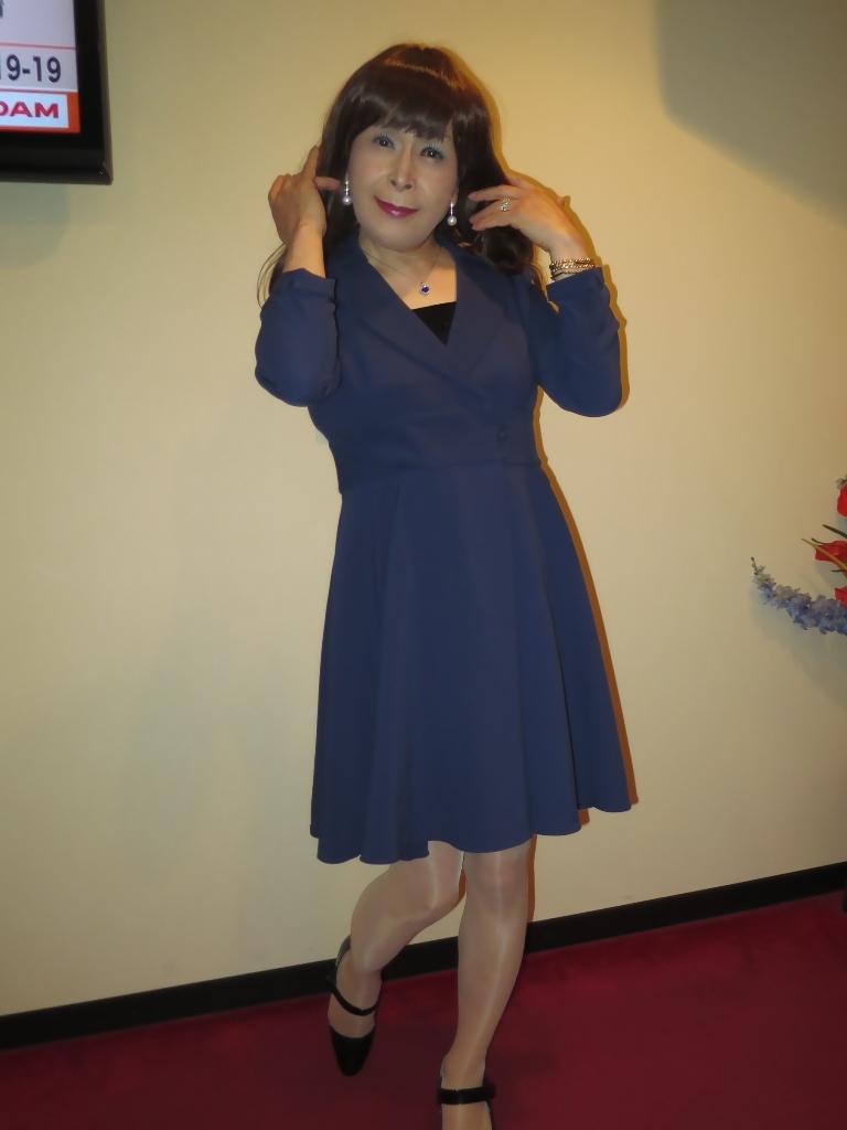 紺のフレアーワンピA(5)