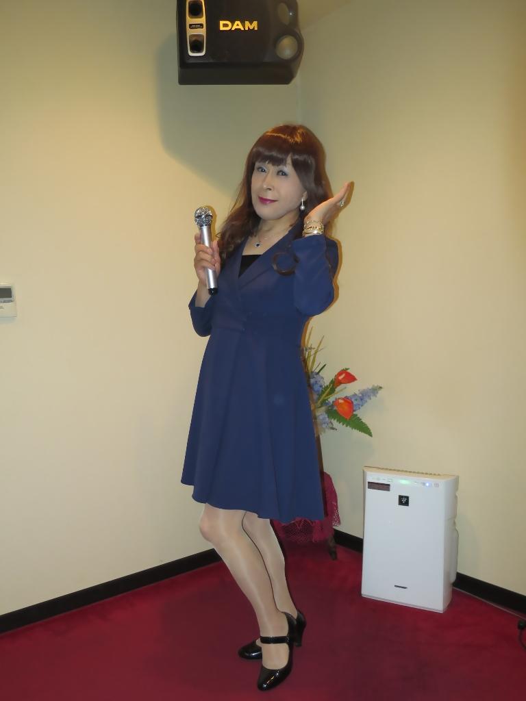 紺のフレアーワンピA(2)