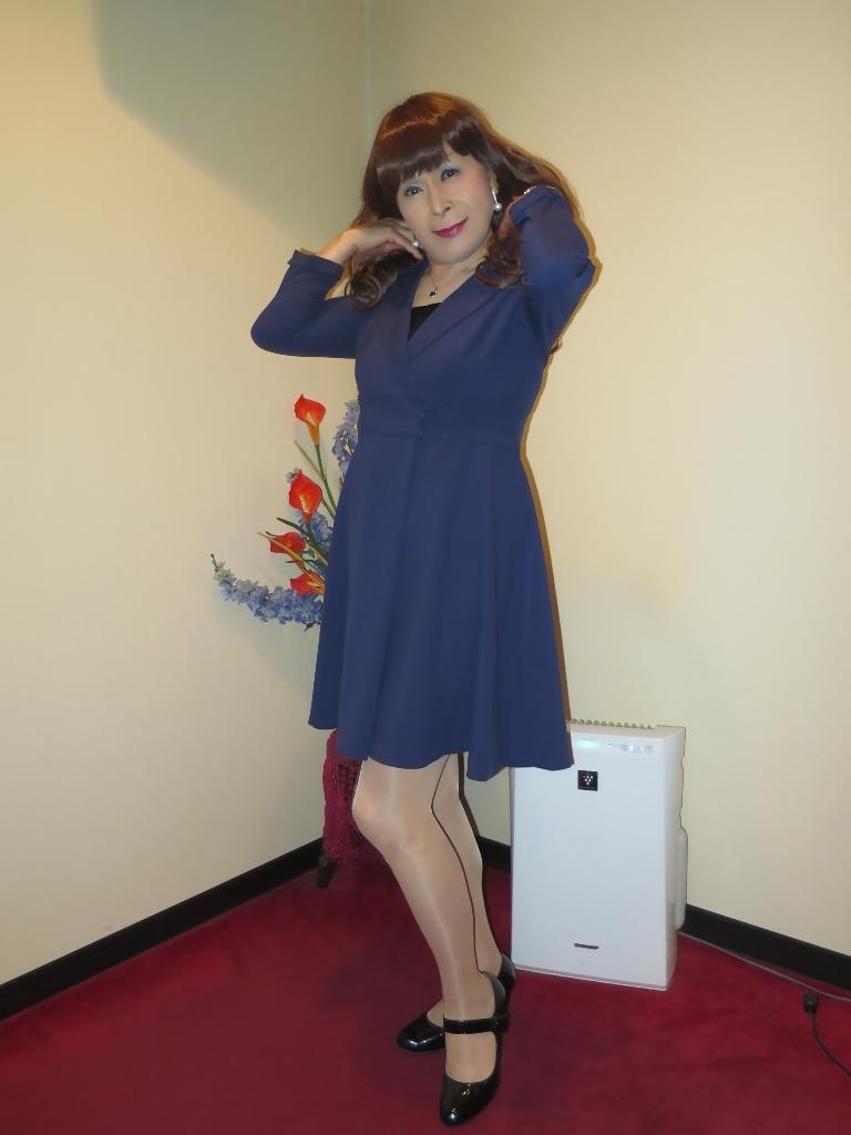 紺のフレアーワンピA(3)