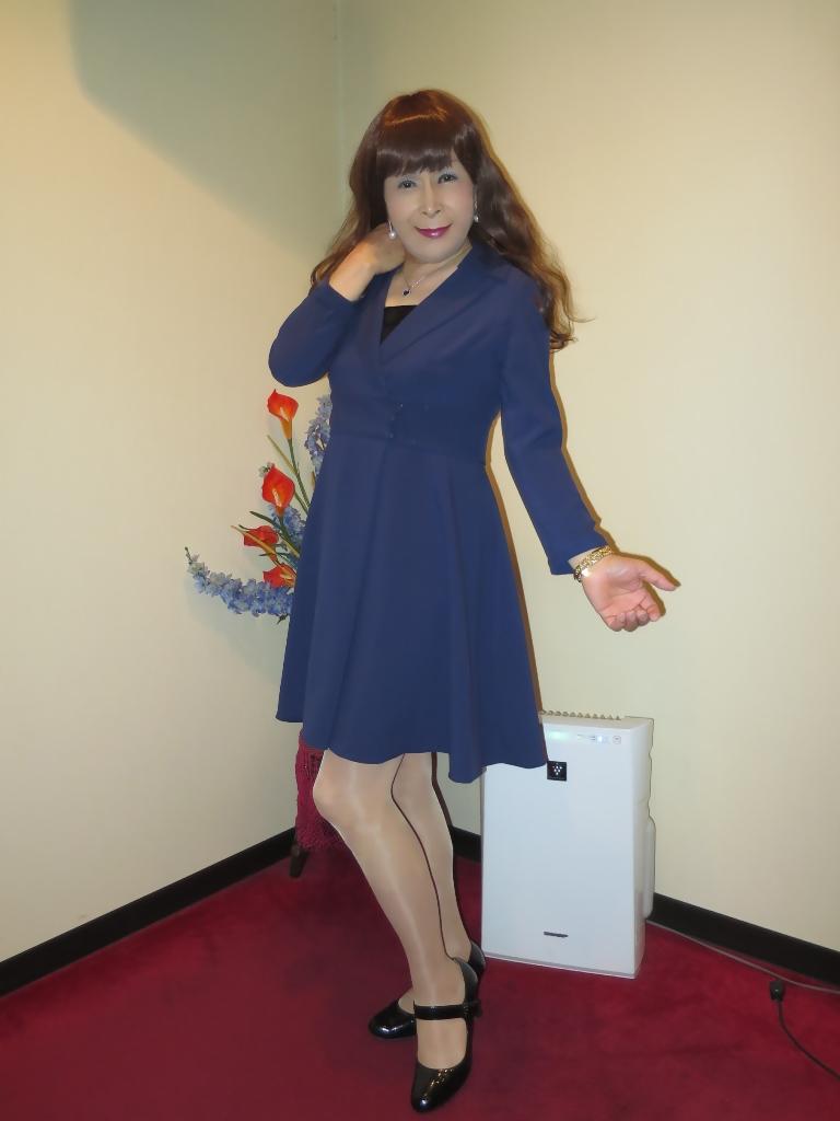紺のフレアーワンピA(4)