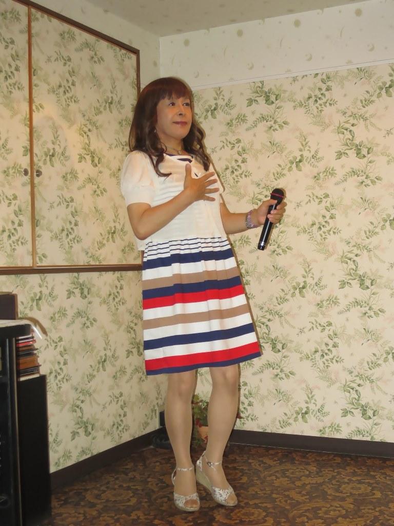 四色ボーダー柄ワンピカラオケ(3)