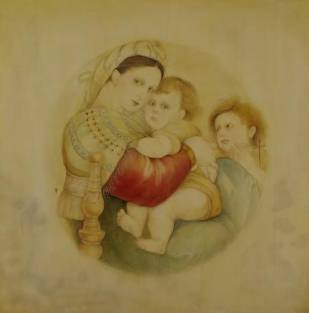 Madonna 子椅子の聖母 うつし  ・日本画
