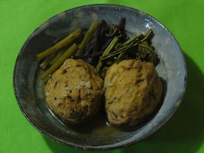 山菜とがんもどきの煮物