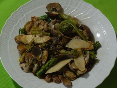 山菜と春野菜のアクアパッツア