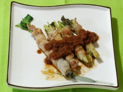 モミジガサとヤマブキショウマの豚肉ロール