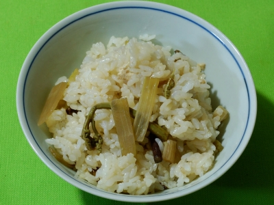 ウドとワラビの炊き込みご飯