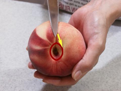 固い桃の切り方