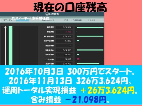 20161113【デモ】ループ・イフダン検証ブログ口座残高