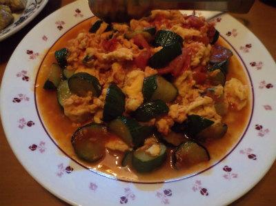7.5トマトとキュウリの炒め物