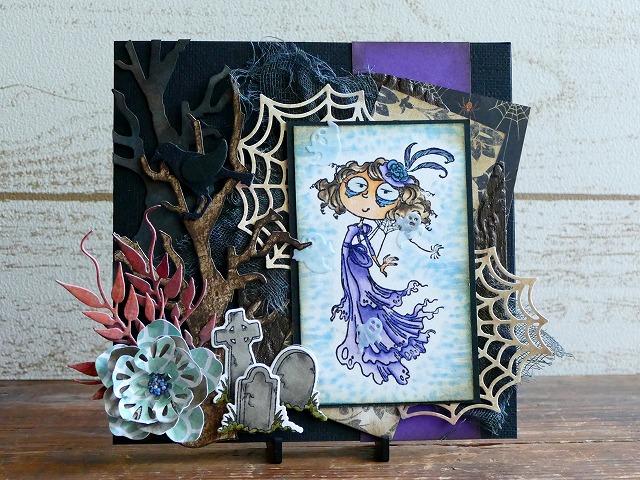 Kraftin' Kimmie Stamps - Hattie  Halloween card