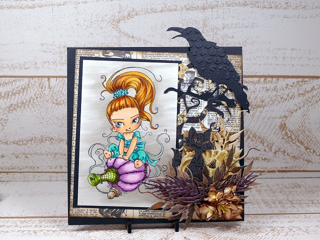 Penny Black Cling Stamp-ittle-Gini-Halloween card