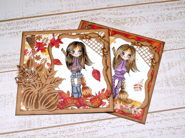 Little Darlings Saturated Canary Elphie Autumn Card