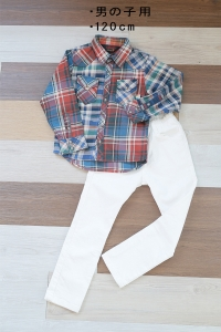120cmチェックシャツ 白パン