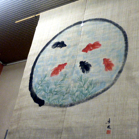 暖簾 金魚
