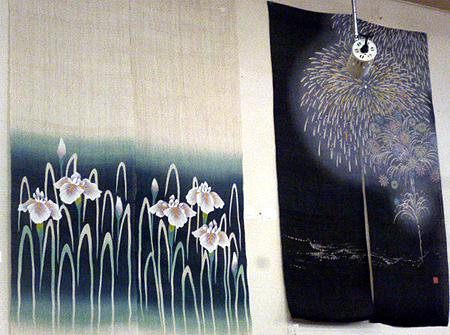 暖簾 菖蒲・花火