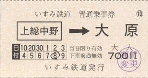 上総中野→大原(車内乗車券)