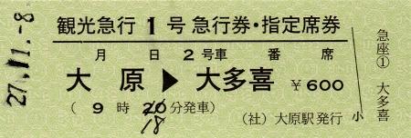 大原→大多喜 急行券・指定席券 観光急行1号