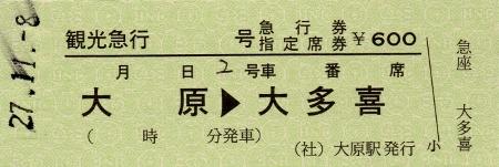大原→大多喜 急行券・指定席券