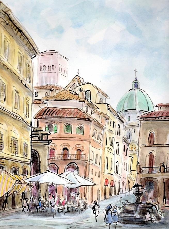 イタリア トスカーナ地方 アッシジの街角