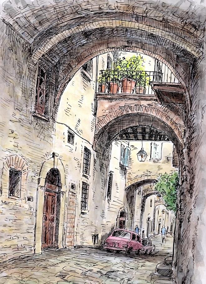 イタリア トスカーナ地方 グッビオの街角
