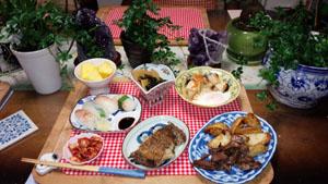 カレイフライ 焼肉 鯛寿司 筍若芽 煮物卵とじ