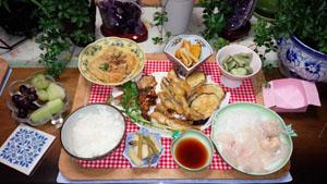 晩御飯 オコゼ刺身唐揚げ 小鰯天ぷら 南京煮物 空豆