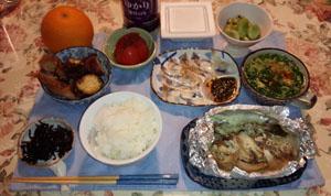 晩御飯 鮭ホイル焼き 真鯛刺身