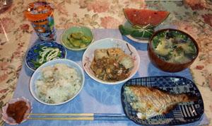 晩御飯 鯛飯・煮付・お味噌汁