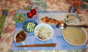 晩御飯 シチュー・鮭・鯛飯