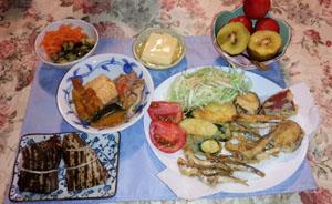 鰯・芋天ぷら 煮物・ちまき