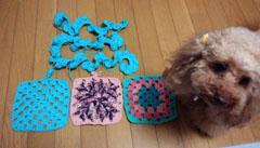 今日も四角&バラ編み