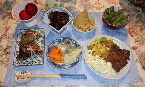 皇牛ステーキ・アジ南蛮・薩摩芋昆布煮・枝豆